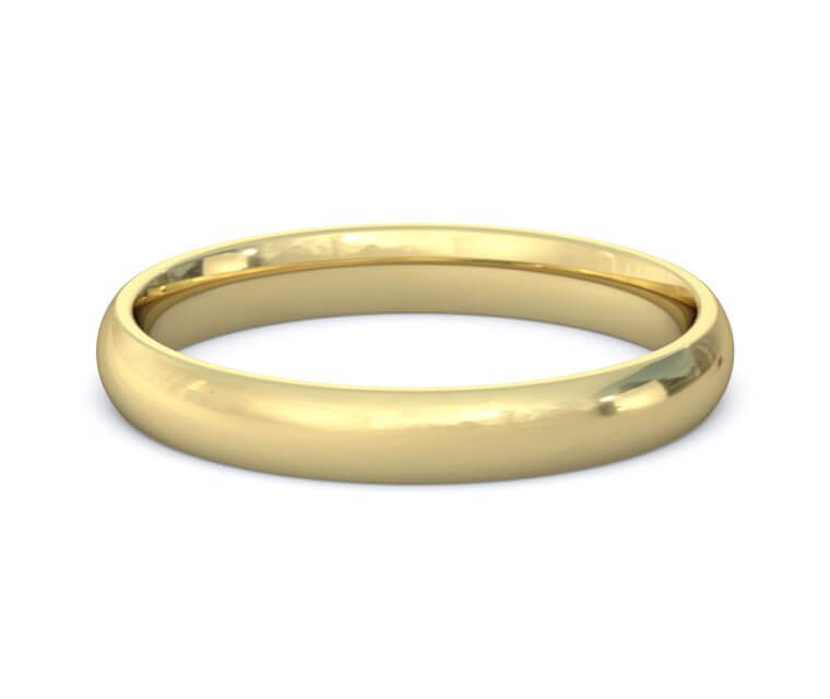 14K Yellow Gold Domed, Comfort Fit Ring - 3mm