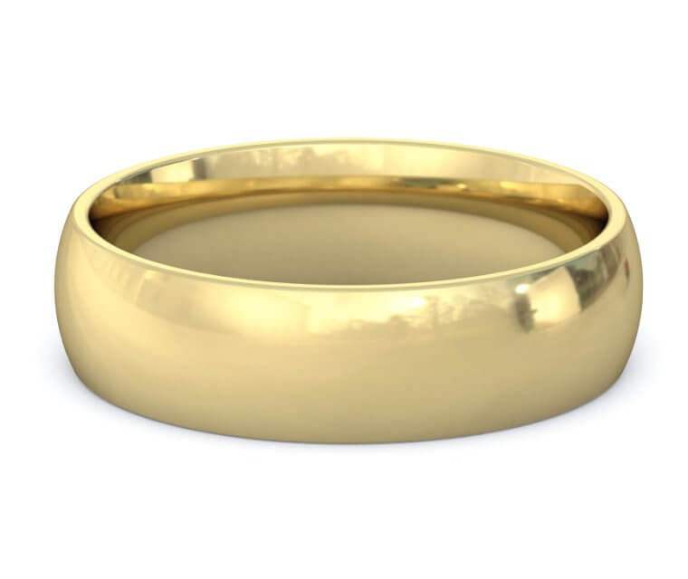 14K Yellow Gold Domed, Comfort Fit Ring - 6mm