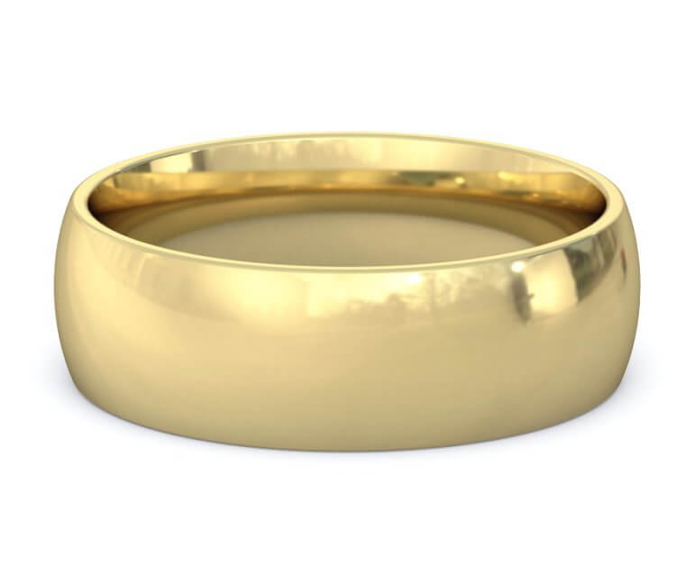 14K Yellow Gold Domed, Comfort Fit Ring - 7mm