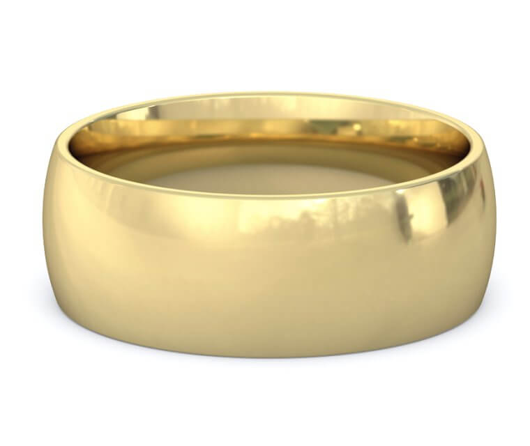 14K Yellow Gold Domed, Comfort Fit Ring - 8mm