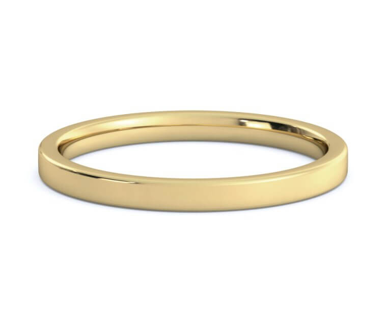 14K Yellow Gold Flat, Comfort Fit Ring - 2mm