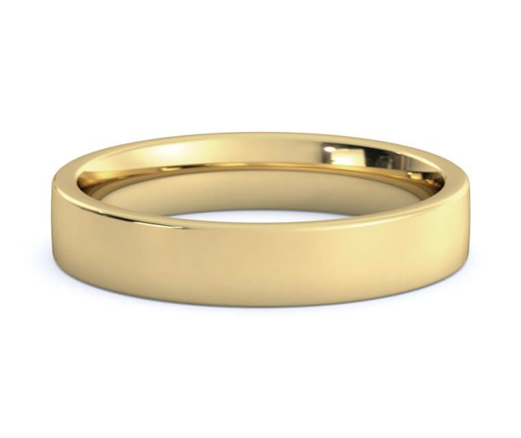 14K Yellow Gold Flat, Comfort Fit Ring - 4mm
