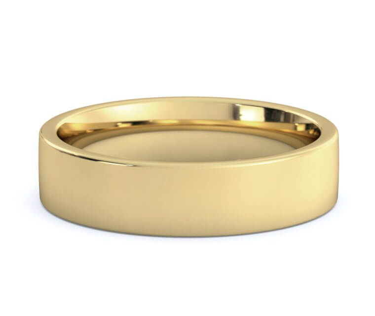 14K Yellow Gold Flat, Comfort Fit Ring - 5mm