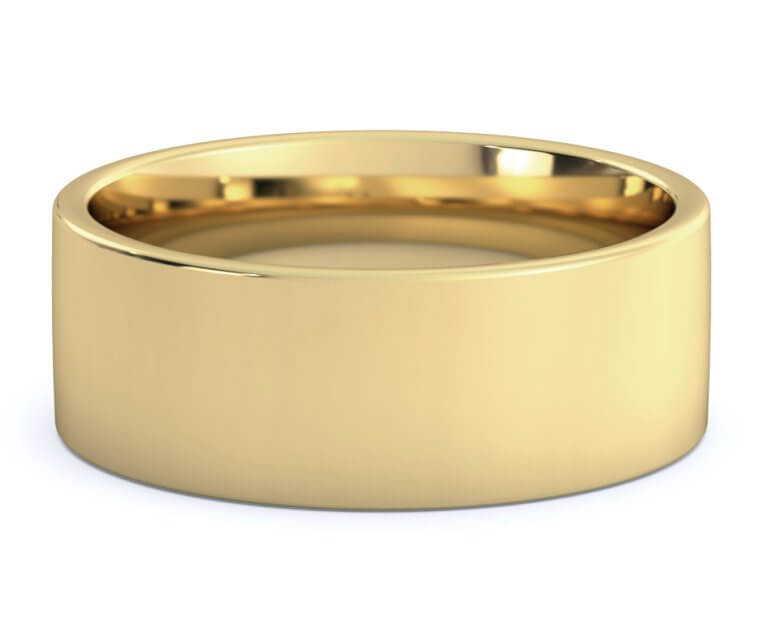 14K Yellow Gold Flat, Comfort Fit Ring - 8mm