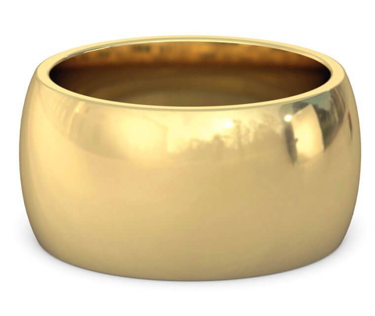 18K Yellow Gold Heavy, Domed, Comfort Fit Ring - 12mm