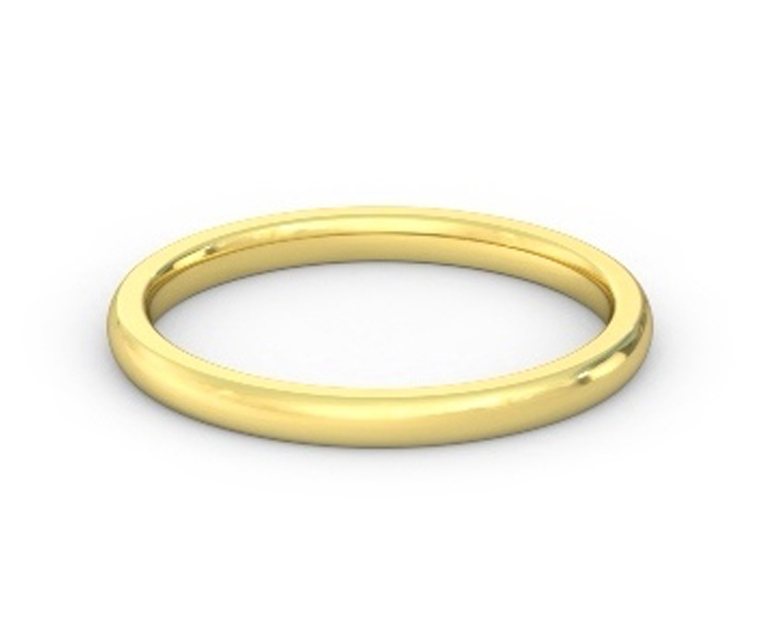 18K Yellow Gold Heavy, Domed, Comfort Fit Ring - 2mm