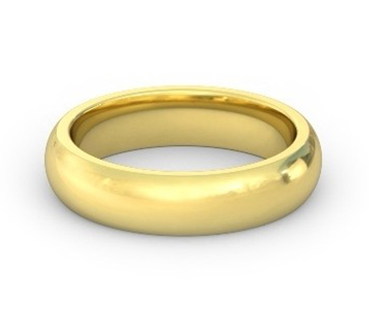 18K Yellow Gold Heavy, Domed, Comfort Fit Ring - 5mm