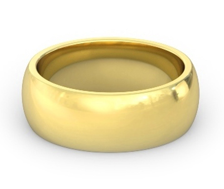 18K Yellow Gold Heavy, Domed, Comfort Fit Ring - 8mm