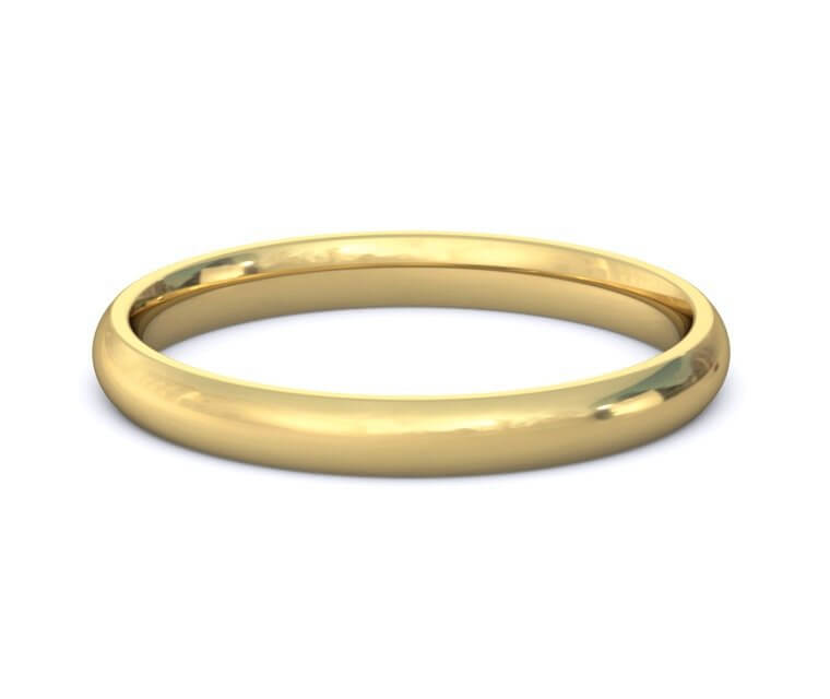 2.5mm 18K Yellow Gold Domed, Comfort Fit