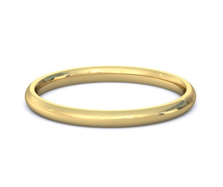 18K Yellow Gold Domed, Comfort Fit Ring - 2mm