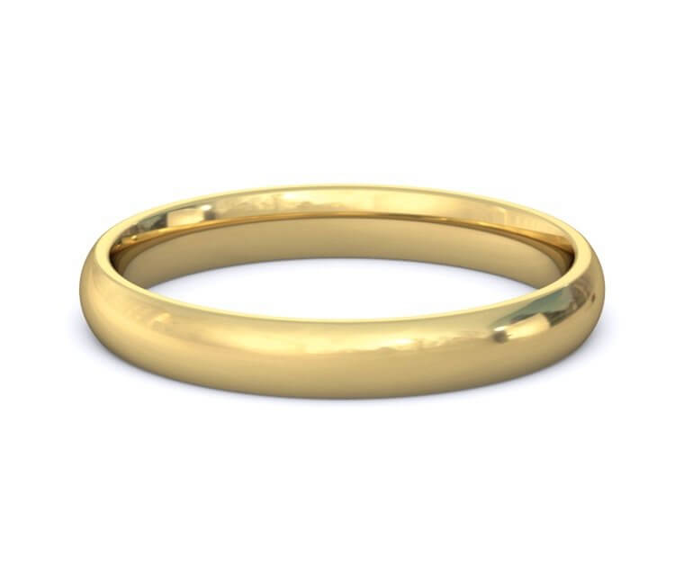 3mm 18K Yellow Gold Domed, Comfort Fit