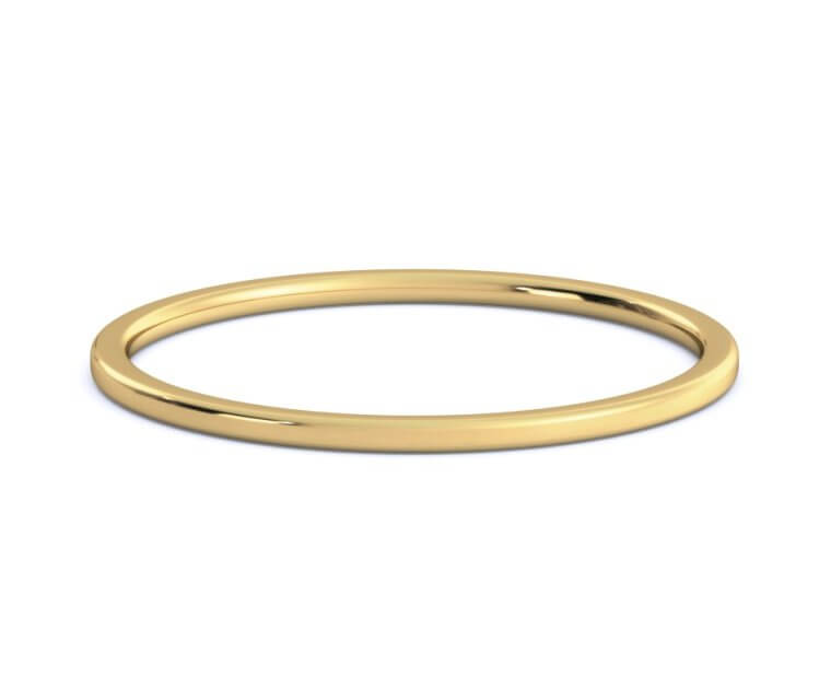 18K Yellow Gold Flat, Comfort Fit Ring - 1mm