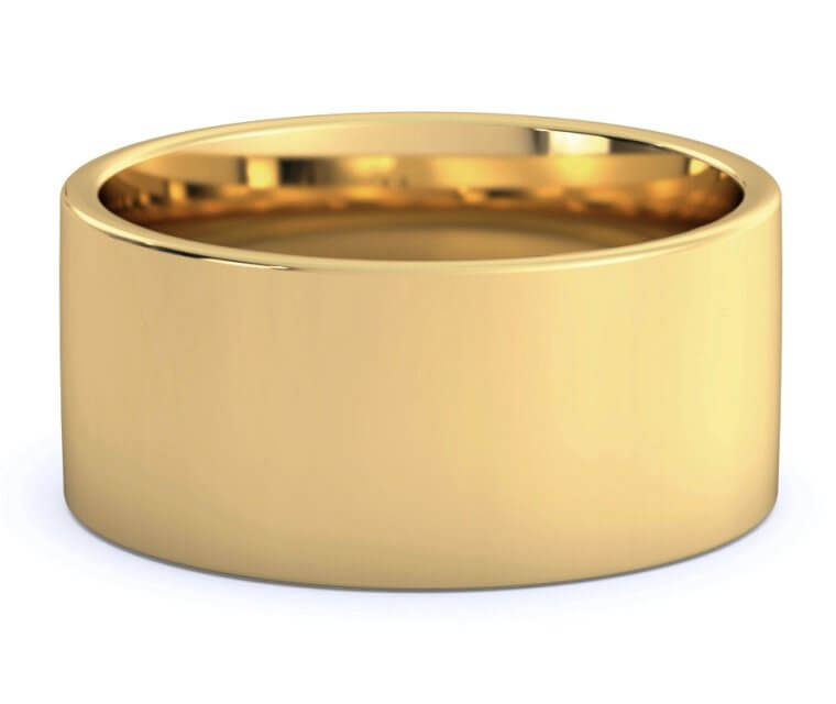 18K Yellow Gold Flat, Comfort Fit Ring - 10mm