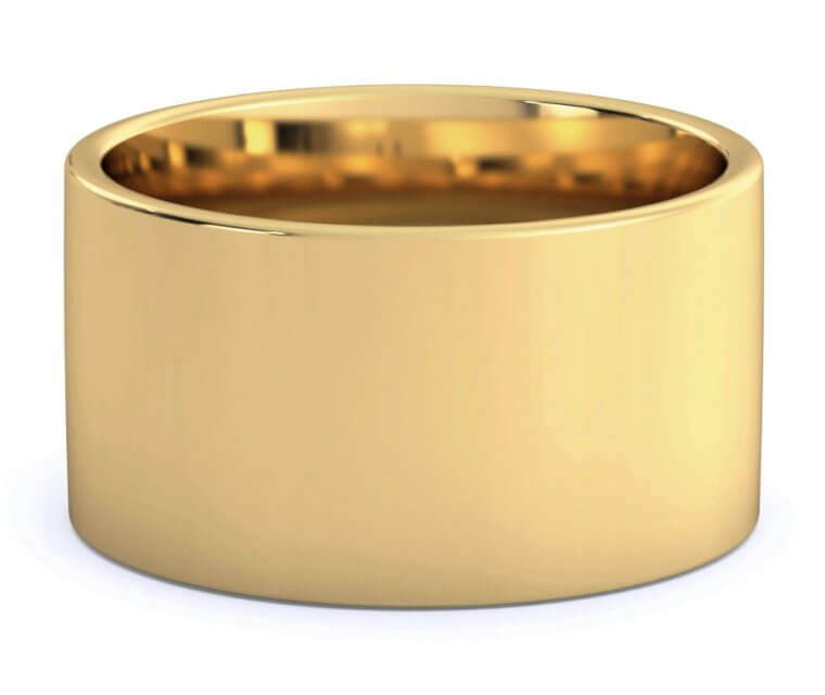 18K Yellow Gold Flat, Comfort Fit Ring - 12mm
