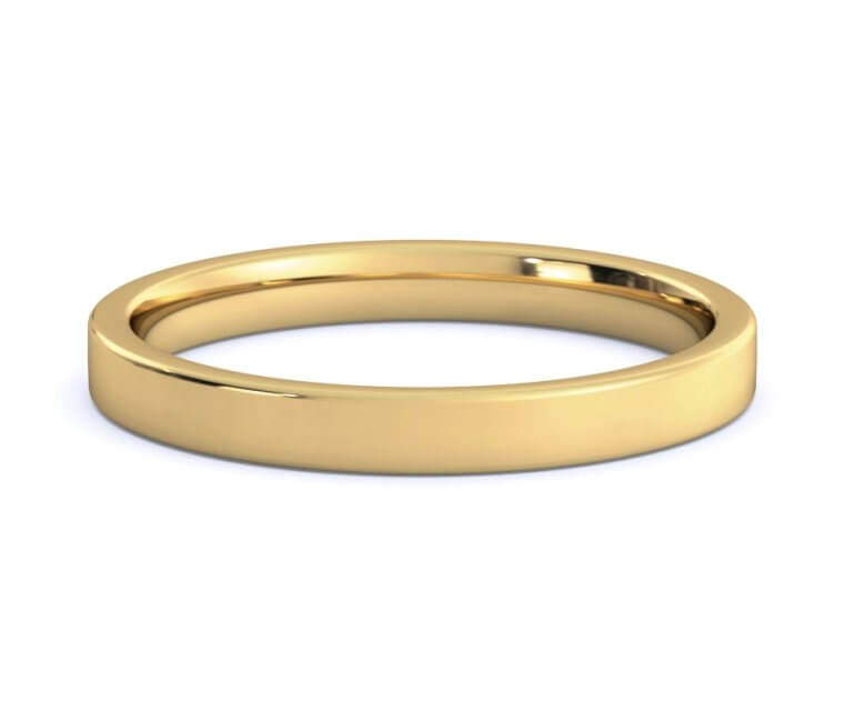 18K Yellow Gold Flat, Comfort Fit Ring - 2.5mm