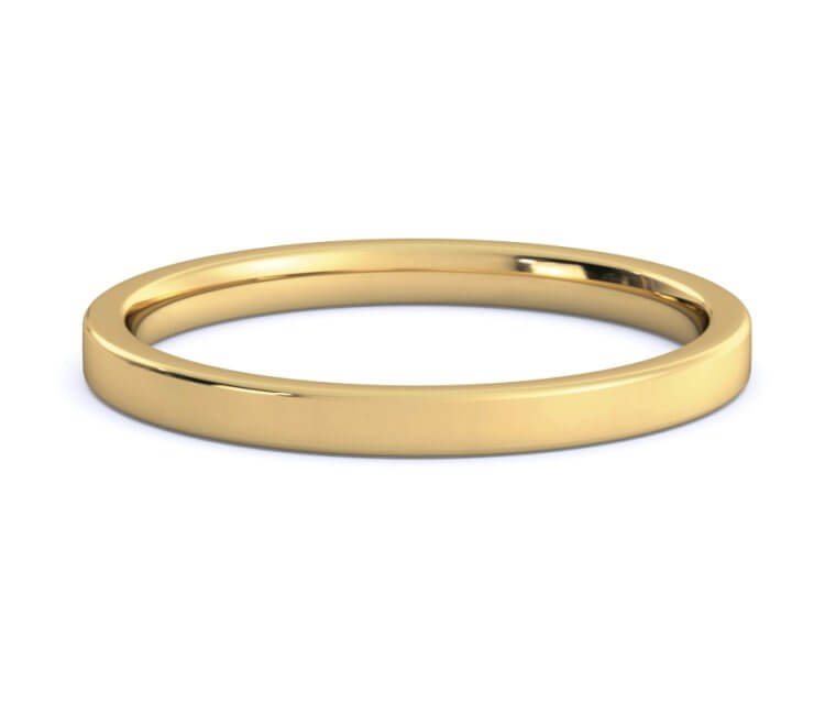 18K Yellow Gold Flat, Comfort Fit Ring - 2mm