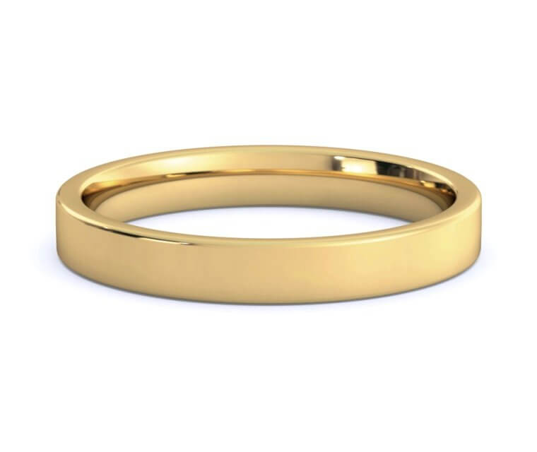 18K Yellow Gold Flat, Comfort Fit Ring Ring - 3mm