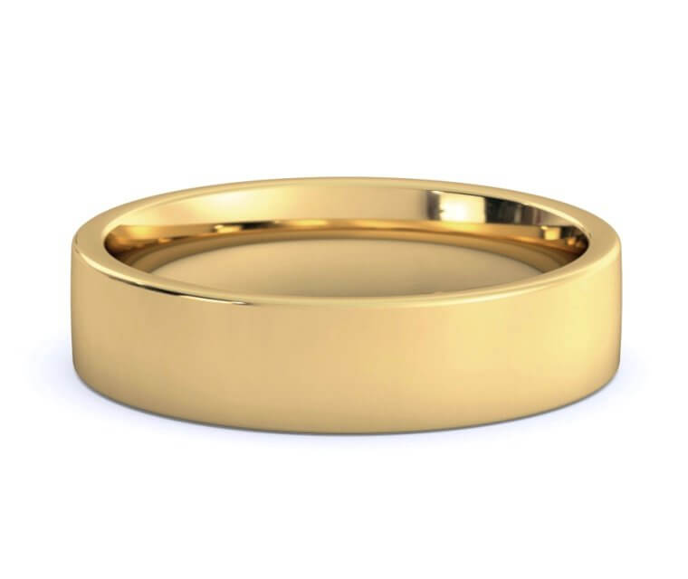 18K Yellow Gold Flat, Comfort Fit Ring - 5mm
