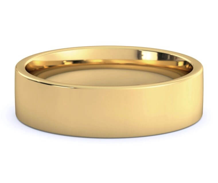 18K Yellow Gold Flat, Comfort Fit Ring - 6mm