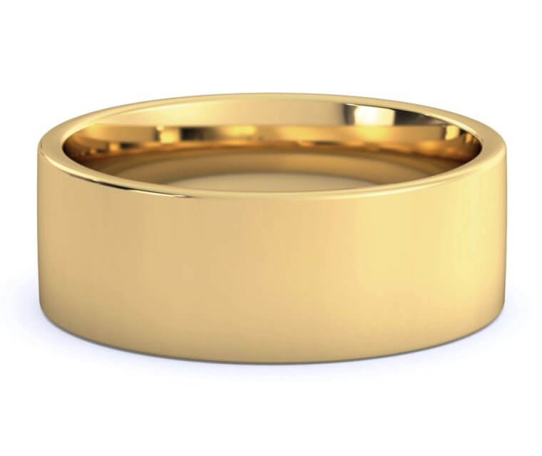 18K Yellow Gold Flat, Comfort Fit Ring - 8mm