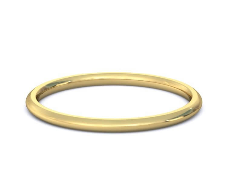 18K Yellow Gold Domed, Comfort Fit Ring - 1.5mm