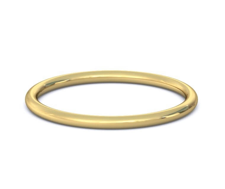 18K Yellow Gold Domed, Comfort Fit Ring - 1mm